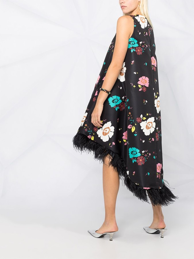 Thumbnail for your product : La DoubleJ La Scala feather-trimmed dress