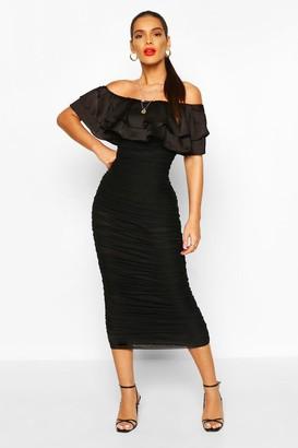 boohoo Off The Shoulder Frill Mesh Midi Dress