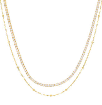 ADINAS JEWELS 2-Layer Ball Chain and Tennis Necklace