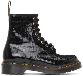 Dr. Martens Black Croc Patent 1460 Boots