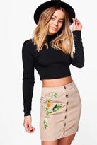 Boohoo Petite Fifi Chunky Cord Embroidered Skirt