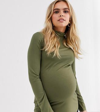 Asos DESIGN Maternity turtle neck long sleeve top in khaki