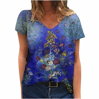 jieGorge Blouse Women Women V-Neck Short Sleeve Floral Printed Casual Loose T-Shirt Top Blouse