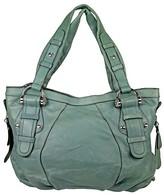 B. Makowsky Open Box Green Leather Satchel