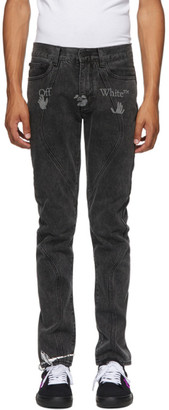 Off-White Grey Logo Contour Slim Jeans