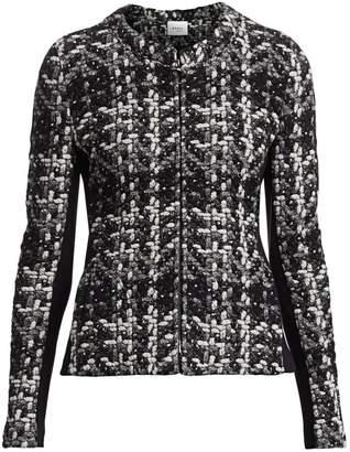 Akris Punto Tweed Jersey Zip-Front Jacket