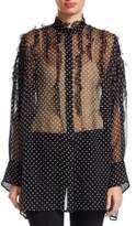 Valentino Silk Polka-Dot Ruffle Blouse