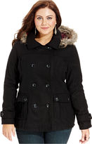 Dollhouse Plus Size Hooded Faux-Fur-Trim Pea Coat