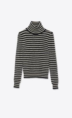 Saint Laurent Striped Turtleneck Sweater In Mohair Black L