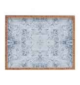 Deny Designs Lisa Argyropoulos Steely Blue Marble Kali Rectangle Wood Tray