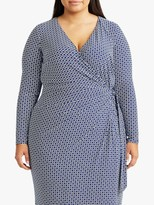 Ralph Lauren Ralph Curve Casondra Geometric Print Day Dress, Parisian Blue/Colonial Cream