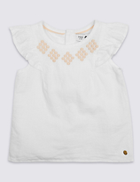 Marie Chantal Marie-chantal Girls Linen Mix Top (3 Months - 5 Years)