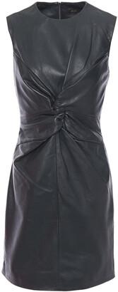 Maje Twist-front Leather Mini Dress