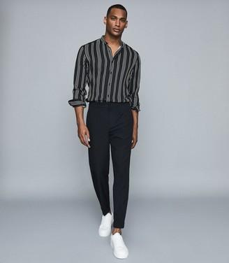 Reiss Yorker - Striped Grandad Collar Shirt in Navy