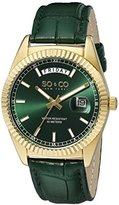 So & Co New York Madison Unisex Quartz Watch with Green Dial Analogue Display and Green Leather Strap 5041.3