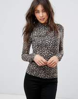 Only Leopard Print High Neck Top