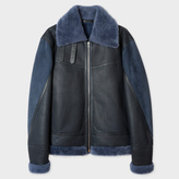 Paul Smith Men's Blue Shearling And Lamb Leather Jacket
