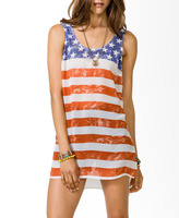 Forever 21 Distressed American Flag Tunic