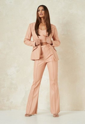 Missguided Tall Tangerine Co Ord Faux Leather Tailored Fit Flare Pants