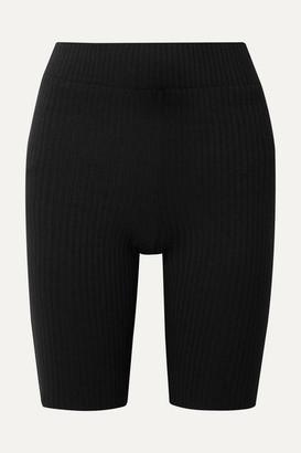 CALÉ Emma Ribbed Stretch-jersey Shorts - Black
