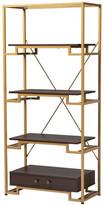 Baxton Studio Jorie Contemporary Gold-Tone Steel & Brown Wood 3-Shelf Bookcase w/ Dr