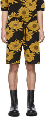 Dries Van Noten Black and Gold Floral Knit Shorts