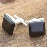 Black jade cufflinks, 'Maya Minimalist'