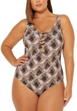 BLEU by Rod Beattie Plus Size Python-Print Strappy One-Piece Swimsuit Women's Swimsuit