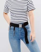 Asos Seat Belt Buckle Webbing Belt With Ring Detail