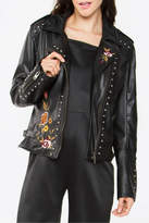 Sugar Lips Embroidered Leather Jacket