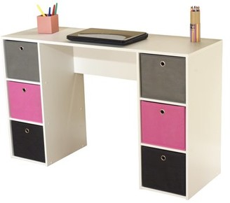 TMS Kids Desk with Six Fabric Storage Bins, Multiple Colors