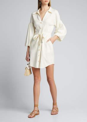Veronica Beard Samy Blouson-Sleeve Shirtdress