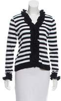 Anne Fontaine Ruffled Striped Cardigan