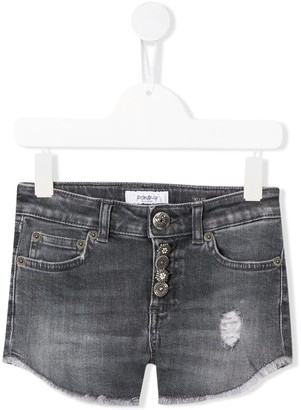 Dondup Kids Distressed Fringed Denim Shorts