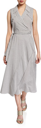 Diane von Furstenberg Charleigh Sleeveless Striped Wrap Dress