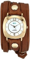La Mer Women's LMODY1005 14k Gold-Plated Watch with Leather Wrap-Around Band