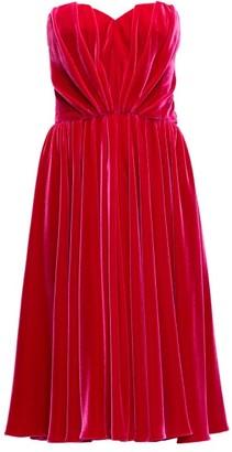 Dolce & Gabbana Strapless Velvet Dress - Womens - Fuchsia