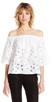 Jack by BB Dakota Women's Oregano Floral Eyelet Top with Bra Bandeau and Removable Straps