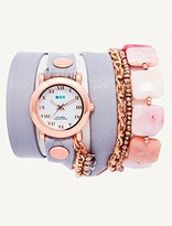 La Mer Collection's Women's LMMULTI1005 Pink Opal-Copper Pyrite Wrap Watch