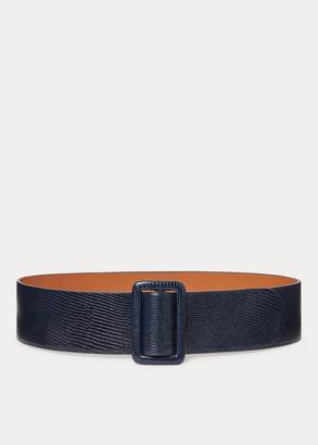 Ralph Lauren Lizard-Stamped Calfskin Belt