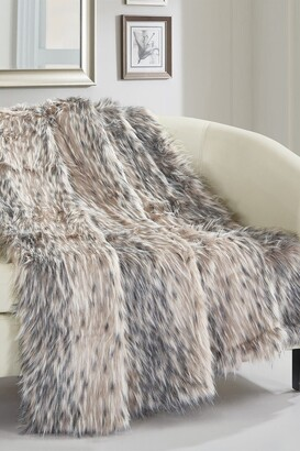 "Chic Home Bedding Piolo Two-Tone Faux Fur Blanket - 50"" x 60"" - Silver"