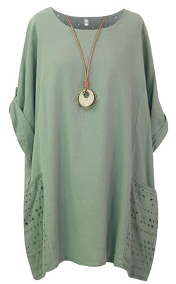 Storm Island Ladies Italian Plain Top Women Lagenlook Cotton Baggy Dress Two Pockets Necklace SI099 (Denim UK 12-14)
