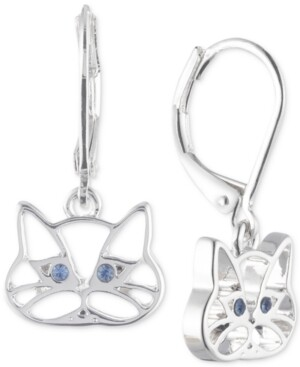 Pet Friends Jewelry Silver-Tone Blue Crystal Cat Drop Earrings