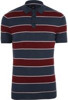 River Island Mens Navy and red stripe slim fit polo shirt