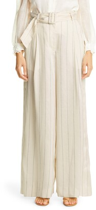 Zimmermann The Lovestruck Pinstripe Wide Leg Linen Blend Pants