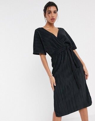 Y.A.S wrap midi dress in plisse with kimono sleeve in black
