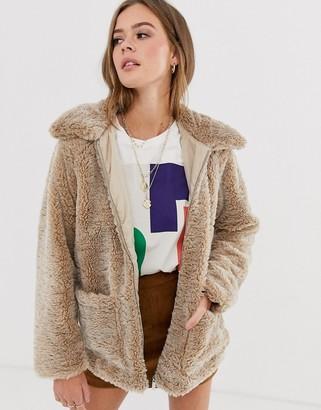 New Look borg coat in camel-Stone