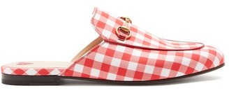 Gucci Princetown Gingham Loafers - Womens - Red White