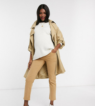 ASOS DESIGN Maternity high rise stretch 'slim' straight leg jeans in tan with over the bump band