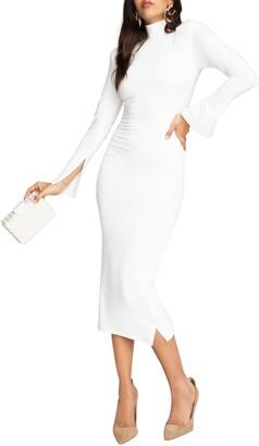 Good American Ribbed Mock Neck Long Sleeve Midi Dress
